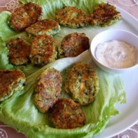 Two cheese zucchini fritters